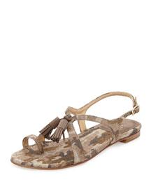 Flapper Printed Linen Sandal, Tan