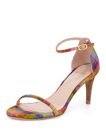 Naked Printed Plaid d'Orsay Sandal, Tinsel