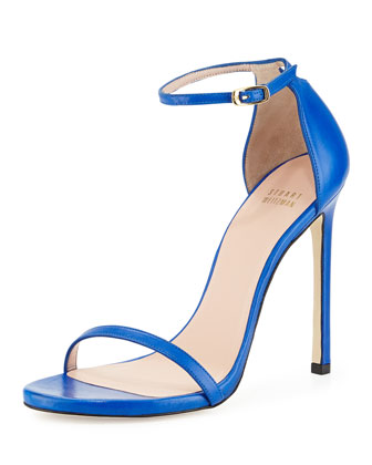 Nudist Leather Ankle-Strap Sandal, Ultramarine
