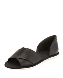Ida Open-Toe Leather Flat, Black