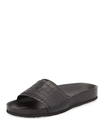 Olivia Snake-Embossed Pool Slide, Black