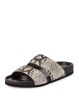 Orion Python-Print Pool-Slide, Black/White