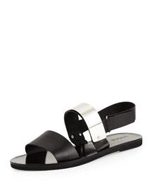 Ciara Leather Metal-Plate Sandal, Black