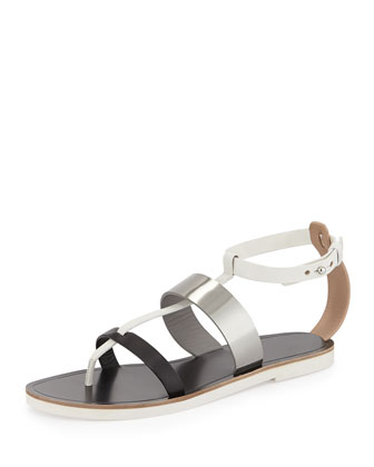 Crete Multicolor Leather Thong Sandal