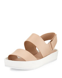 Marett Leather Platform Sandal, Nude/Bone