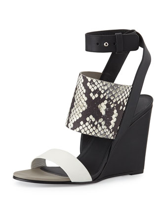 Kyra Snake-Embossed Leather Wedge Sandal, Bone/Black/White