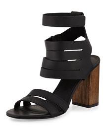 Freida Leather Multi-Strap Sandal, Black