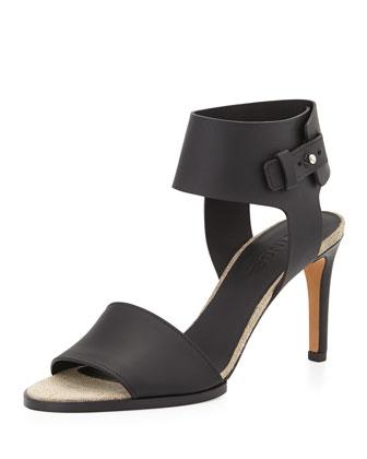Antonia Mid-Heel Leather Sandal, Black