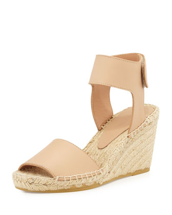 Sophie Leather Espadrille Wedge, Nude