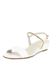 Sweeper Chain Demi-Wedge Sandal, White