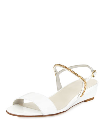 Sweeper Chain Demi-Wedge Sandal, White