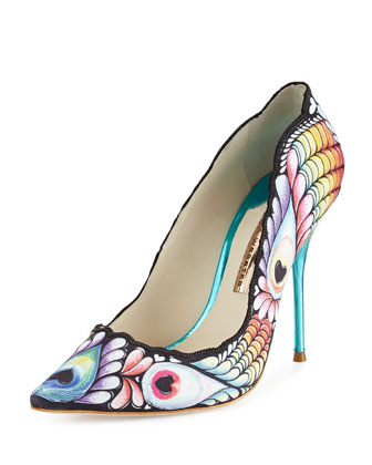 Lola Peacock Point-Toe Pump, Black/Multi