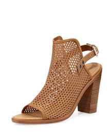 Wyatt Perforated Sandal, Walnut
