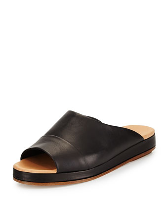 Falk Leather Sandal Slide, Black