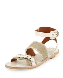 Lara Fringed Canvas & Leather Sandal, Natural