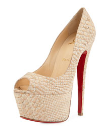 Jamie Platform Red Sole Cork Pump, Beige