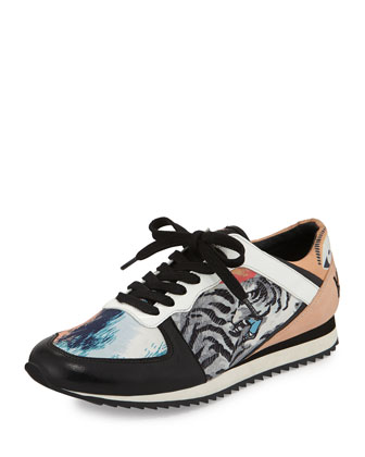 Tiger-Print Lace-Up Sneaker