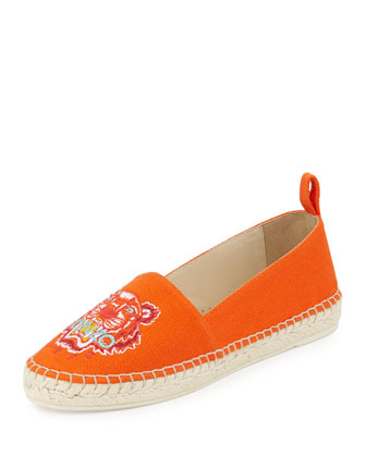 Tiger-Embroidered Canvas Espadrille Flat, Orange