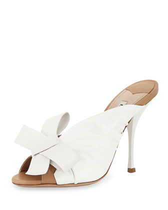 Ruched Leather Bow Sandal, Beige/White
