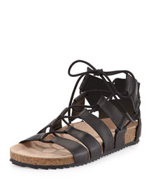 Pascal Leather Lace-Up Flat Sandal, Black