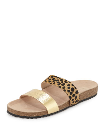 Paz Molded Footbed Slide, Gold/Cheetah