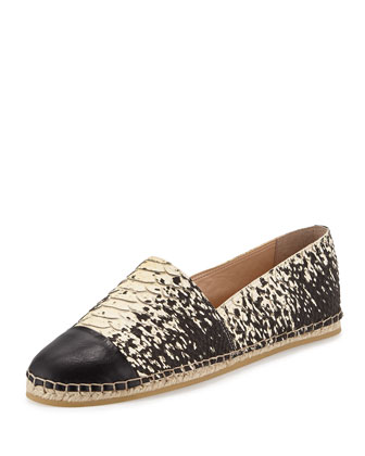 Mara Snake-Embossed Leather Espadrille, Black/Cream