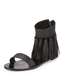 Lark Leather Tassel Sandal, Black