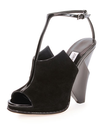 Kascade Suede T-Strap Wedge Sandal