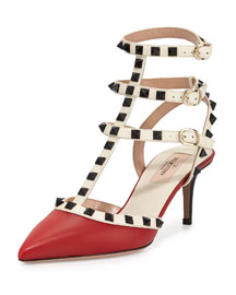 Rockstud Leather Mid-Heel Sandal, Red/Ivory