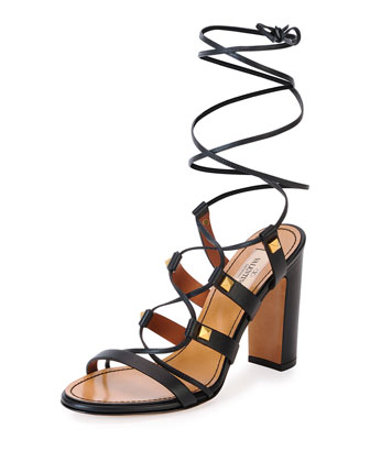 Rockstud High-Heel Gladiator Sandal, Black