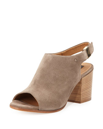 Ancona Suede Peep-Toe Bootie, Taupe