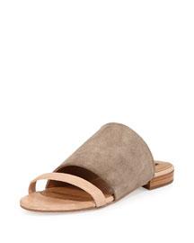 Rose Suede Sandal Slide, Nude/Sand