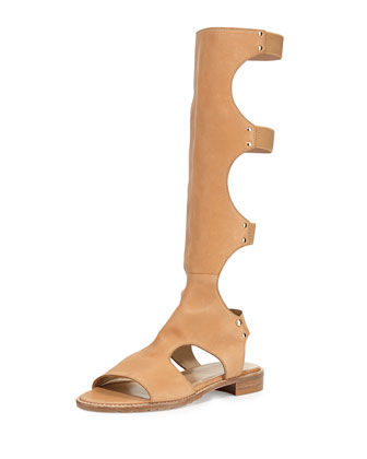 Backview Leather Gladiator Sandal, Pecan