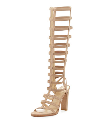 Caged-Up Gladiator Sandal, Cashew