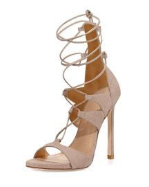 Leg-Wrap Lace-Up Sandal, Fawn