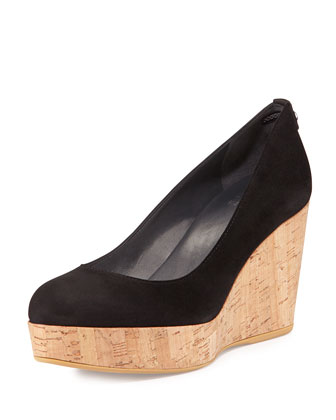York Cork Wedge Pump, Black