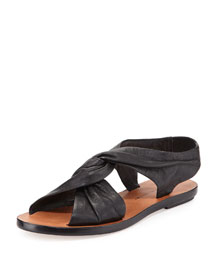 Pell Knotted Flat Sandal, Black