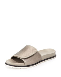 Spencer Metallic Slip-On Sandal, Pewter