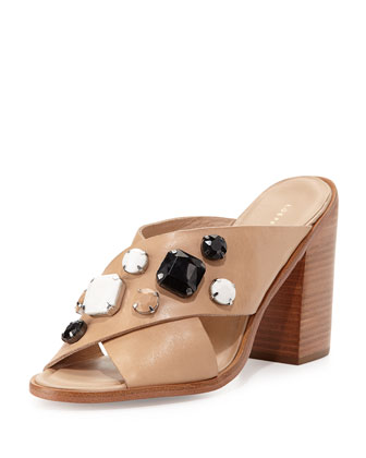 Etta Jewel-Embellished Mule, Wheat/Multi