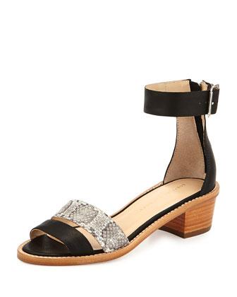 Henry Leather/Snake City Sandal, Black/Gray