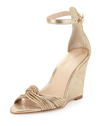 Allegra Metallic Wedge Sandal, Gold