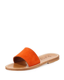 Anacapri Wide Band Slide Sandal, Velours Naranja