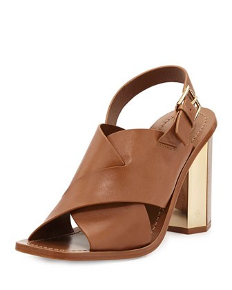 Bleecker Slingback Leather Sandal, Natural Bark