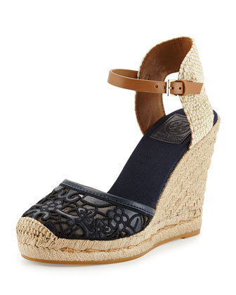 Lucia Lace Wedge Espadrille, Tory Navy