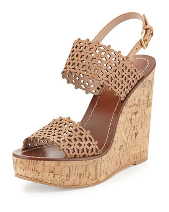 Daisy Perforated Wedge Sandal, Natural Blush