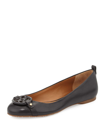 Mini Miller Leather Logo Flat, Black