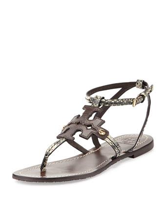 Phoebe Snake-Embossed Flat Sandal, Brown