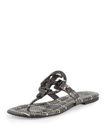 Miller 2 Snake-Embossed Medallion Sandal, Black/Ivory