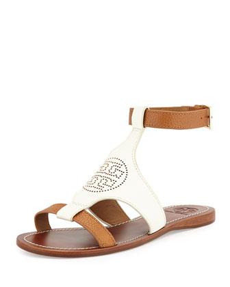 Perforated Logo Leather Sandal, Ivory/Royal Tan