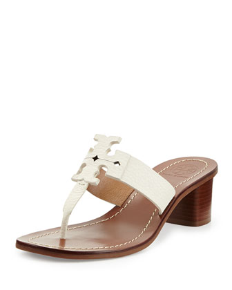 Moore Leather Logo City Sandal, Ivory